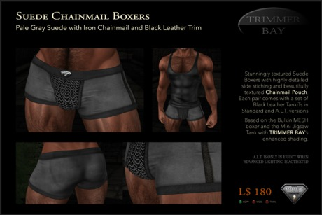 Suede Boxers in Pale Gray with Iron Chainmail Pouch and Black Leather Trim