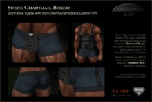 Suede Boxers in Storm Blue with Iron Chainmail Pouch and Black Leather Trim