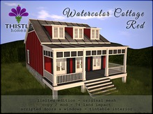 Thistle Watercolor Cottage Red