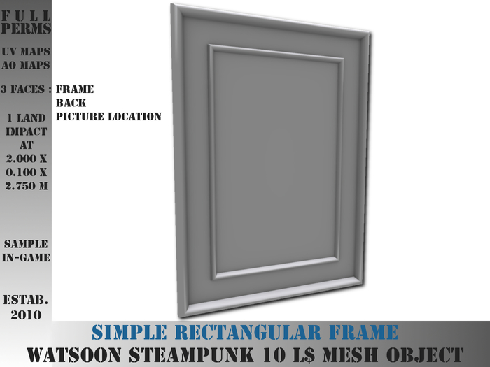 Simple rectangular frame - 1 LI - FULL PERMS Mesh (mirror, board, picture, painting)