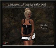 CS] Black & White Pinstriped Crop Top & Ruffle Skirt Outfit [ Maitreya Belleza TMP Eve Slink]