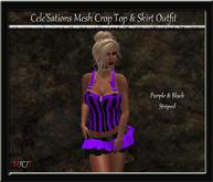 [CS] Purple & Black Striped Crop Top & Ruffle Skirt Outfit