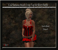 [CS] Red & Black Striped Crop Top & Ruffle Skirt Outfit [ Maitreya Belleza TMP Eve Slink]
