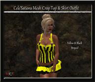 [CS] Yellow & Black Striped Crop Top & Ruffle Skirt Outfit [ Maitreya Belleza TMP Eve Slink]