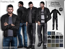 [VM] Matthew - Men's One-Piece Mesh Leather Jacket Outfit