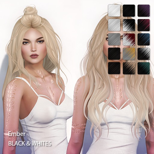 TRUTH HAIR - Ember (Fitted Mesh Hair) -  black & whites