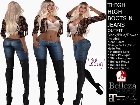 THIGH HIGH BOOTS AND JEANS OUTFIT BLACK