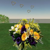 Bouquet lily violets and daiseys with animation hearts