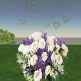 Bouquet white roses purple iris with animation hearts