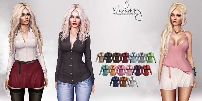 Blueberry - Blaire Button Up Blouse - Maitreya Lara, Belleza (All), Slink Physique Hourglass (Mesh) - Fat Pack