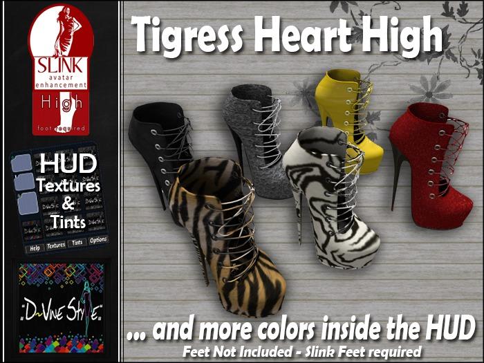 :: D~vine Style ::  Tigress Heart Boots - Slink High