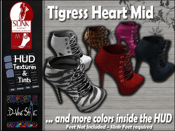 :: D~vine Style ::  Tigress Heart Boots - Slink Mid