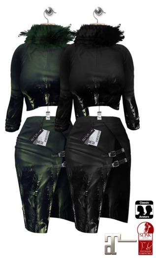 GIZ SEORN - Chantal Outfit [Leather Black - Green]