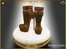 *BS* Ankle Boots Brown Suede with Socks