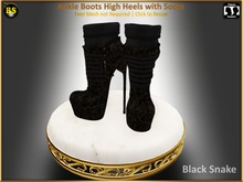 *BS* Ankle Boots Black Snake with Socks