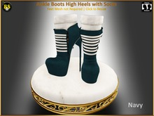 *BS* Ankle Boots Navy with Socks