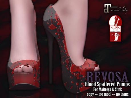 REVOSA [Bloody Horror] Blood Spattered Pumps (Maitreya & Slink High)