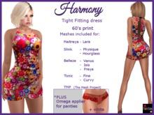 Harmony dress in 60's print + applier