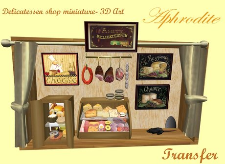 Delicatessen miniature shop- 3D Art-  TRANSFER (boxed)