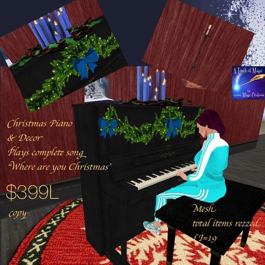 Christmas Piano & Decor Where are you Christmas Song(crate)