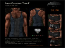 Suede Tank-T in Storm Blue with Iron Chainmail panel - comes with free Black Leather Boxers Set