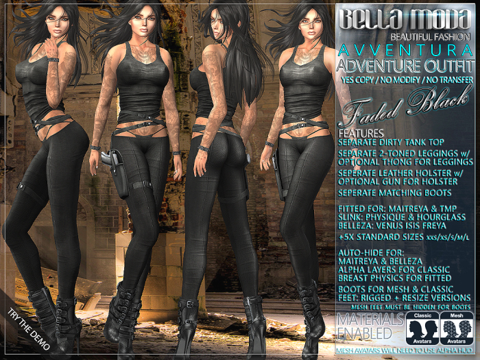 "Bella Moda: ""Avventura"" Faded Black Adventure Outfit Maitreya/TMP/Slink/Belleza+Standard - FULL"
