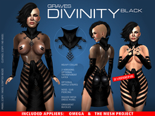 GRAVES Divinity - Black - leather latex dress + Omega, TMP appliers