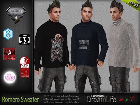 MESH Romero Male Mens Sweater - TMP, Adam, Slink, Aesthetic, Signature - FashionNatic