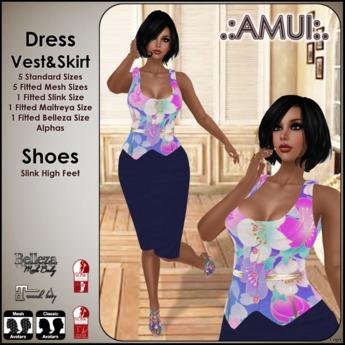 .:AMUI:. GALINDA - FLOWERS-BLUE (Maitreya,Belleza,Slink,Fitted,Standard Sizes)