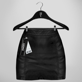 Emery Barb Leather Skirt Black
