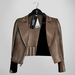 Emery Tete Leather Jacket Over Shoulders Burlap