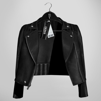 Emery Tete Leather Jacket Over Shoulders Black