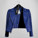 Emery Tete Leather Jacket Over Shoulders Blue