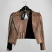 Emery Tete Leather Jacket Over Shoulders Latte