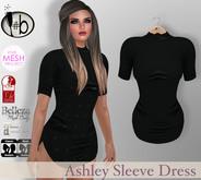 #b Ashley Sleeve Short Dress Black Mini -- Slink, Maitreya, Physique, Hourglass, TMP, FITMESH, Mesh