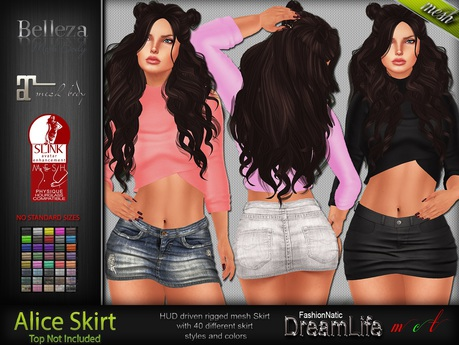 Alice Mini Skirt - Maitreya Lara, Slink Physique Hourglass, Belleza Isis Freya Venus - FashionNatic