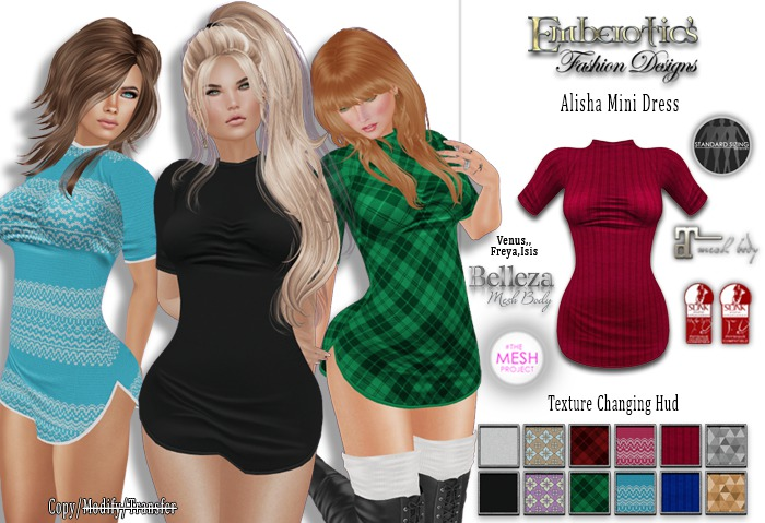 ~ ALISHA Short Sleeve Short Dress ~ & Texture Changing Hud