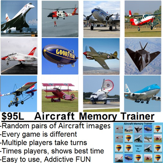 Aircraft Memory Game (Concentration Game)