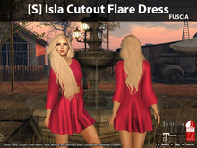 [S] Isla Cutout Flare Dress Fuscia