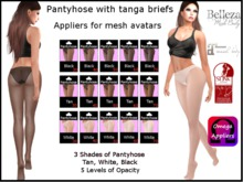 Pantyhose with tanga briefs appliers