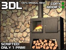 3DL - Wood Burning Stove (1 Prim - 100% Mesh)