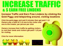 Gold Piggy - $ Earn Free Lindens Info Boxed - No Group Activation