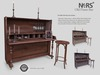 N4RS Mesh Old Piano Bar Set comes in three colours and includes copy/modify bar stools with 12 mocap sit animations.