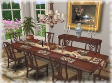 Dinner Party Dining Set for 8: Chippendale Mahogany