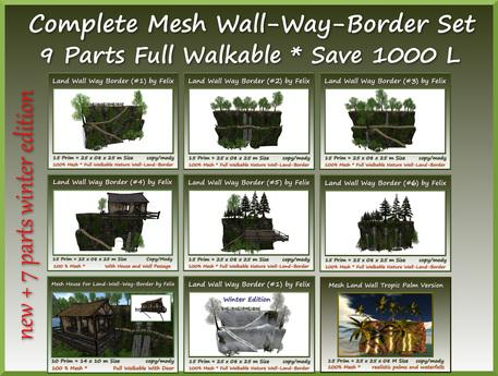 complete mesh wall-way-border set 9 parts save 1000l