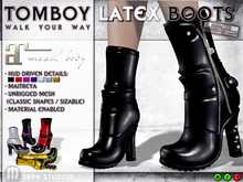0o Morph - Tomboy Boots - latex BLACK (maitreya)