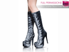 %50WINTERSALE Full Perm MI Shiny Leather Black Knee Boots