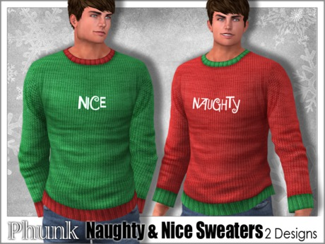 [Phunk] Men's Naughty & Nice Sweaters (2 Designs)