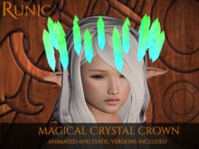 .: Runic :. Magical Crystal Crown (Green/Teal)