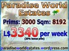 Paradise World Estates - L$ 3340 - 3000 prims - Land Store - Land for Sale - Land Rentals